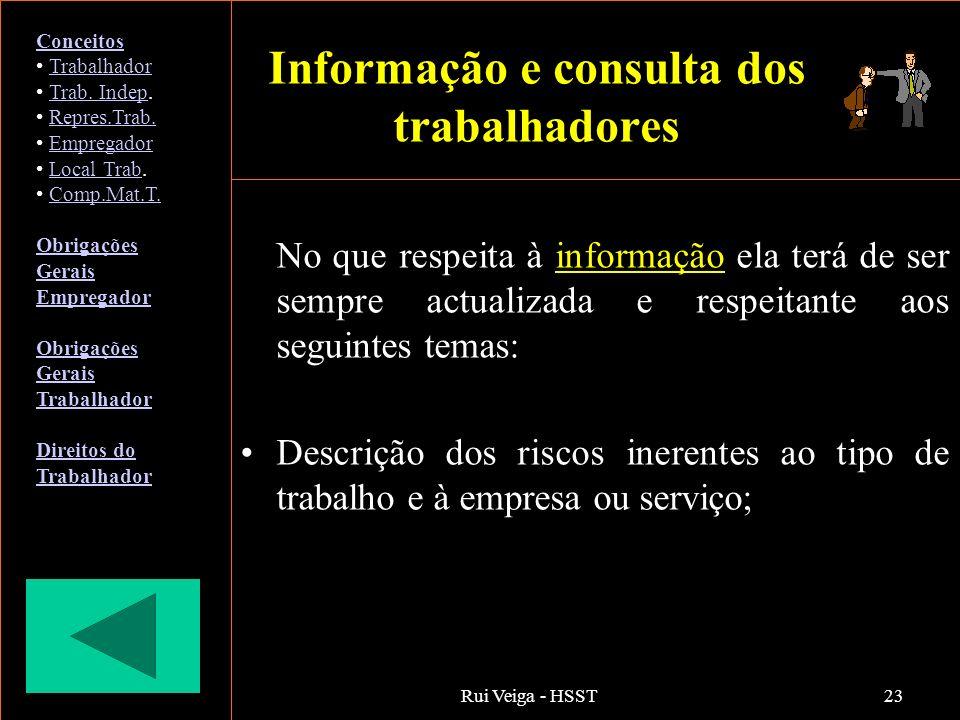 Rui Veiga - HSST23 Informação e consulta dos trabalhadores No que respeita à informação ela terá de ser sempre actualizada e respeitante aos seguintes