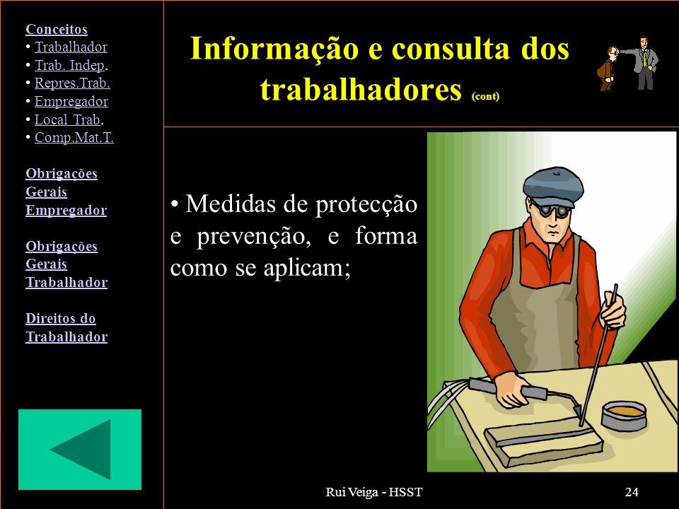 Rui Veiga - HSST24 Medidas de protecção e prevenção, e forma como se aplicam; Conceitos Trabalhador Trab. Indep.Trab. Indep Repres.Trab. Empregador Lo