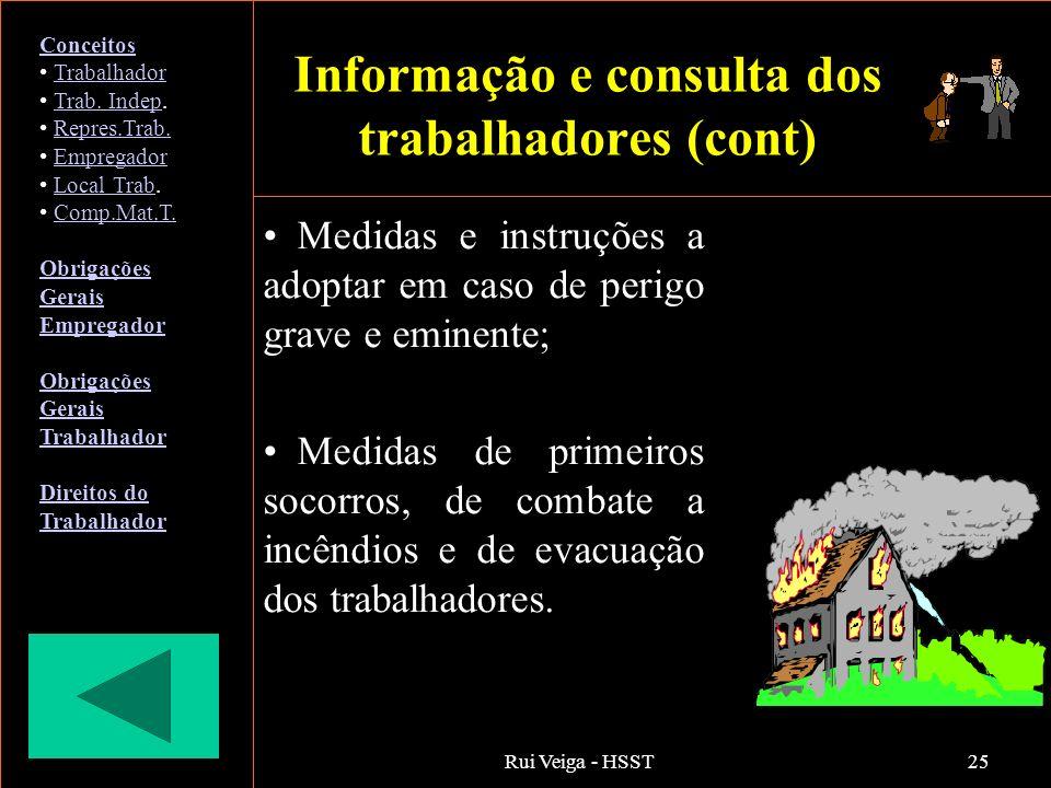 Rui Veiga - HSST25 Medidas e instruções a adoptar em caso de perigo grave e eminente; Medidas de primeiros socorros, de combate a incêndios e de evacu