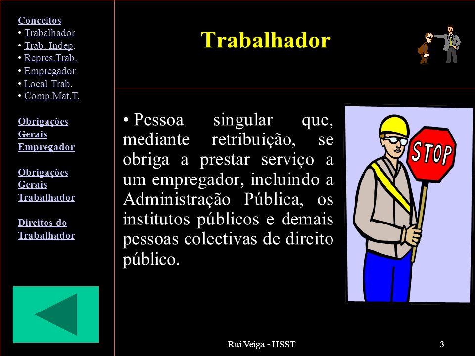 Rui Veiga - HSST3 Trabalhador Pessoa singular que, mediante retribuição, se obriga a prestar serviço a um empregador, incluindo a Administração Públic