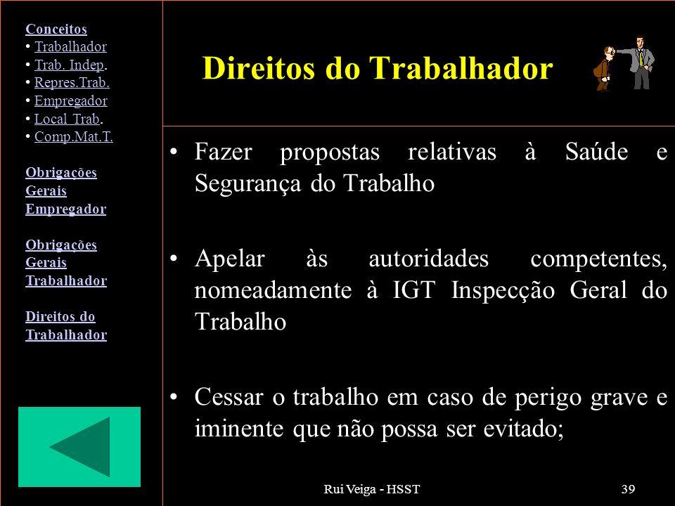 Rui Veiga - HSST39 Direitos do Trabalhador Fazer propostas relativas à Saúde e Segurança do Trabalho Apelar às autoridades competentes, nomeadamente à