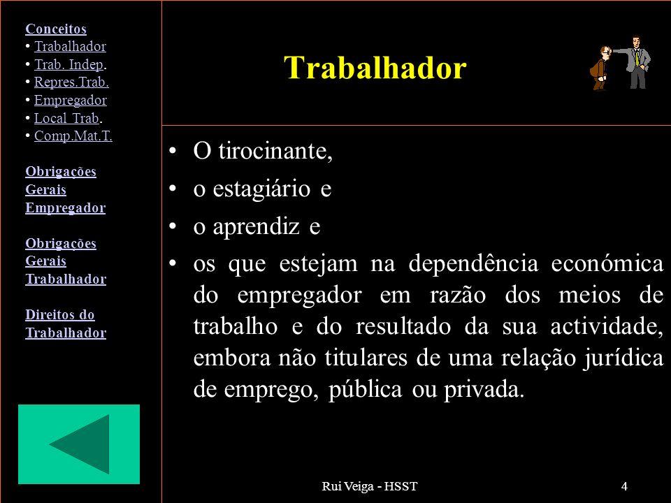 Rui Veiga - HSST4 Trabalhador O tirocinante, o estagiário e o aprendiz e os que estejam na dependência económica do empregador em razão dos meios de t