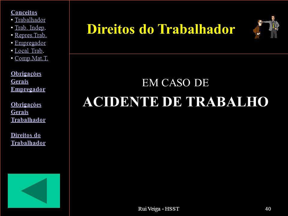 Rui Veiga - HSST40 EM CASO DE ACIDENTE DE TRABALHO Conceitos Trabalhador Trab. Indep.Trab. Indep Repres.Trab. Empregador Local Trab.Local Trab Comp.Ma