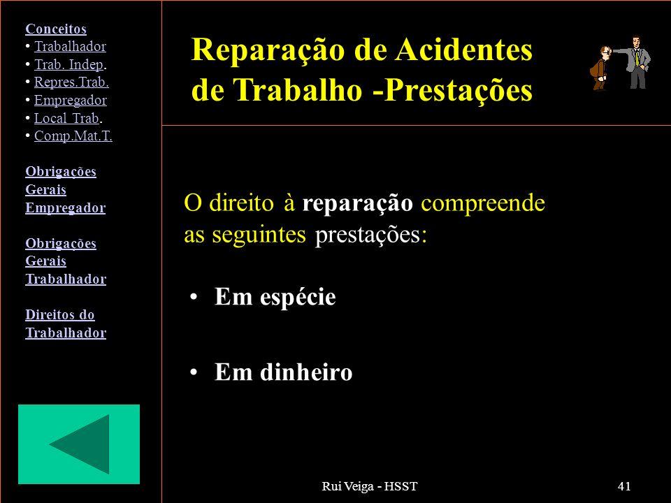 Rui Veiga - HSST41 Em espécie Em dinheiro O direito à reparação compreende as seguintes prestações: Conceitos Trabalhador Trab. Indep.Trab. Indep Repr