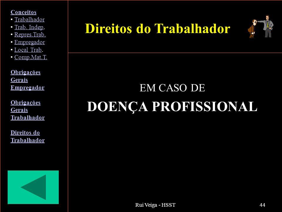 Rui Veiga - HSST44 EM CASO DE DOENÇA PROFISSIONAL Conceitos Trabalhador Trab. Indep.Trab. Indep Repres.Trab. Empregador Local Trab.Local Trab Comp.Mat