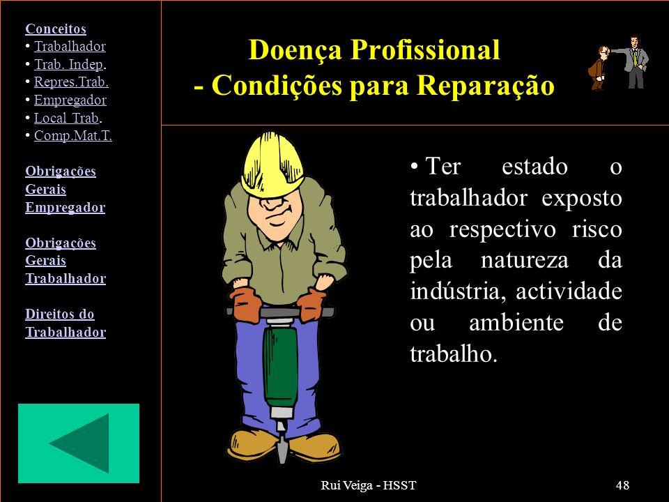 Rui Veiga - HSST48 Ter estado o trabalhador exposto ao respectivo risco pela natureza da indústria, actividade ou ambiente de trabalho. Conceitos Trab
