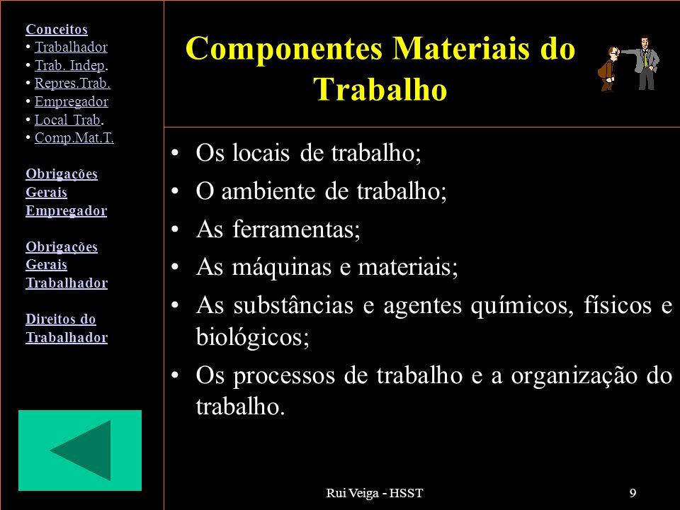Rui Veiga - HSST9 Componentes Materiais do Trabalho Os locais de trabalho; O ambiente de trabalho; As ferramentas; As máquinas e materiais; As substân