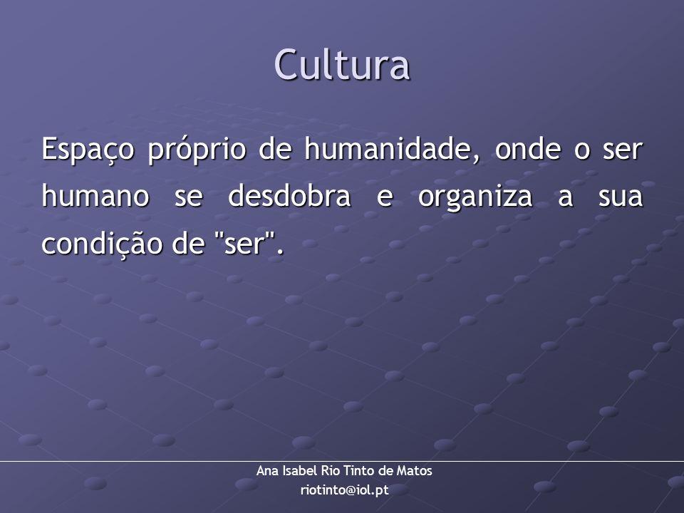 Ana Isabel Rio Tinto de Matos riotinto@iol.pt Cultura Espaço próprio de humanidade, onde o ser humano se desdobra e organiza a sua condição de
