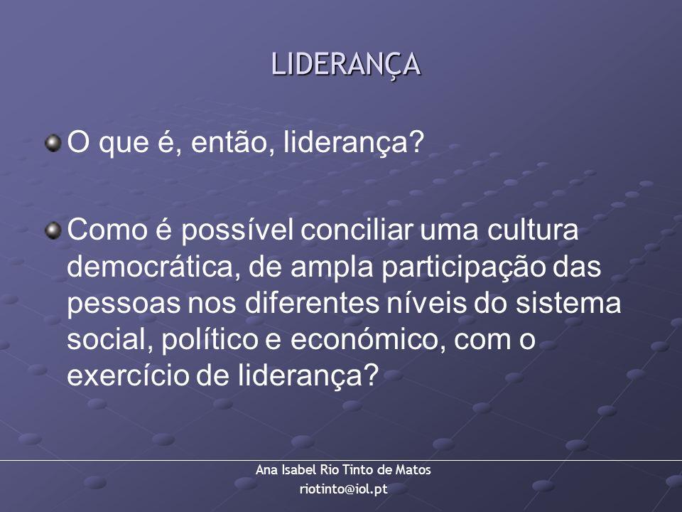 Ana Isabel Rio Tinto de Matos riotinto@iol.pt LIDERANÇA LIDERANÇA O que é, então, liderança? Como é possível conciliar uma cultura democrática, de amp