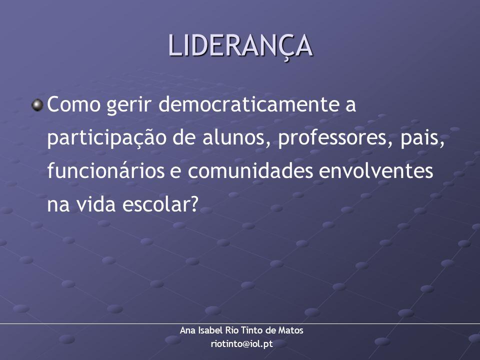 Ana Isabel Rio Tinto de Matos riotinto@iol.pt LIDERANÇA Como gerir democraticamente a participação de alunos, professores, pais, funcionários e comuni