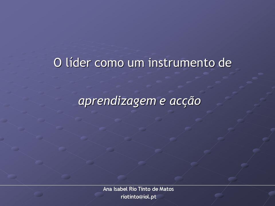 Ana Isabel Rio Tinto de Matos riotinto@iol.pt O líder como um instrumento de aprendizagem e acção aprendizagem e acção