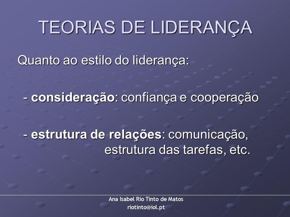 Ana Isabel Rio Tinto de Matos riotinto@iol.pt TEORIAS DE LIDERANÇA Quanto ao estilo do liderança: - consideração: confiança e cooperação - estrutura d
