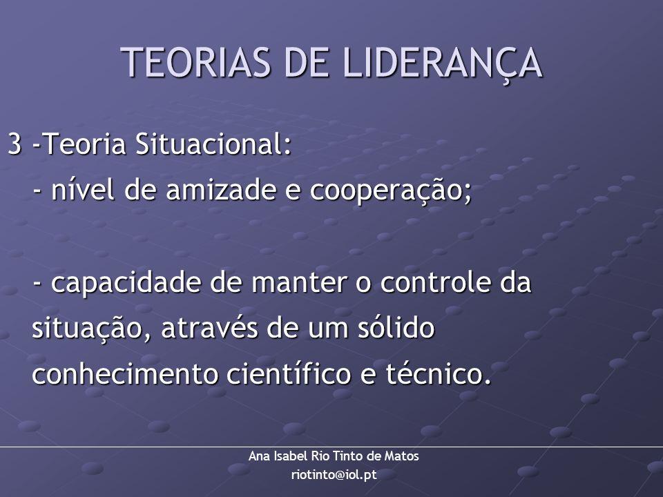 Ana Isabel Rio Tinto de Matos riotinto@iol.pt TEORIAS DE LIDERANÇA 3 -Teoria Situacional: - nível de amizade e cooperação; - capacidade de manter o co
