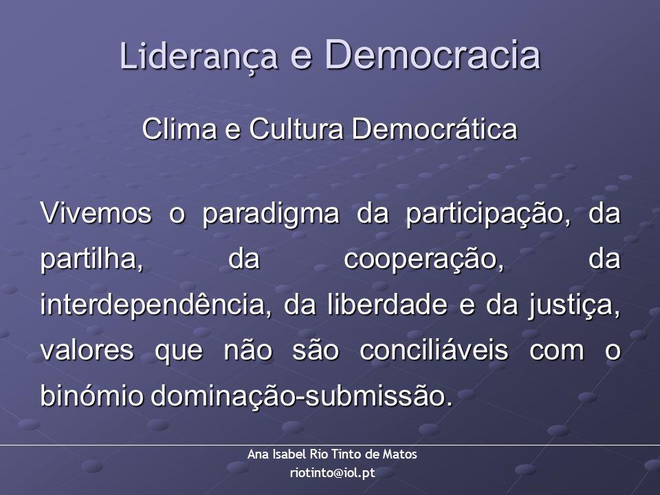Ana Isabel Rio Tinto de Matos riotinto@iol.pt Liderança e Democracia Clima e Cultura Democrática Vivemos o paradigma da participação, da partilha, da