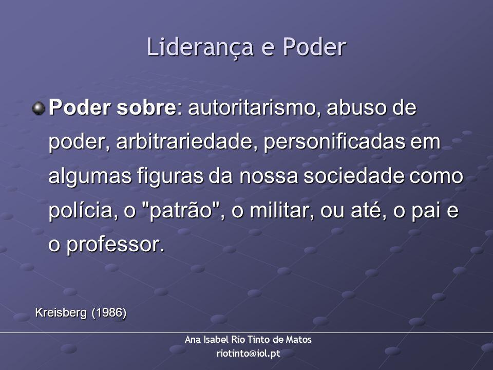 Ana Isabel Rio Tinto de Matos riotinto@iol.pt Liderança e Poder Poder sobre: autoritarismo, abuso de poder, arbitrariedade, personificadas em algumas