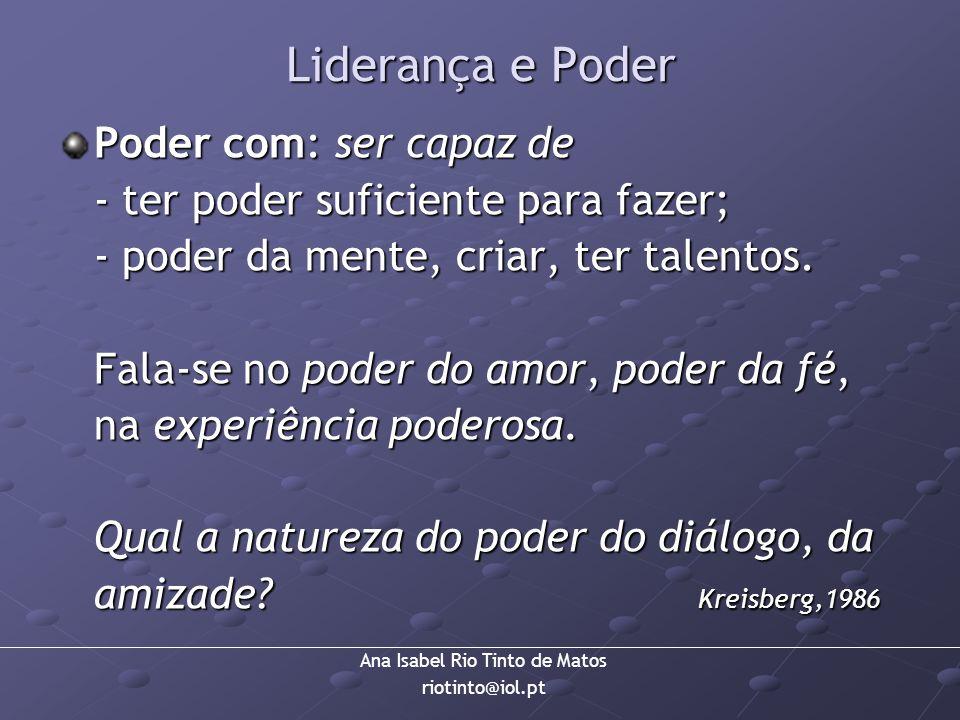 Ana Isabel Rio Tinto de Matos riotinto@iol.pt Liderança e Poder Poder com: ser capaz de - ter poder suficiente para fazer; - poder da mente, criar, te