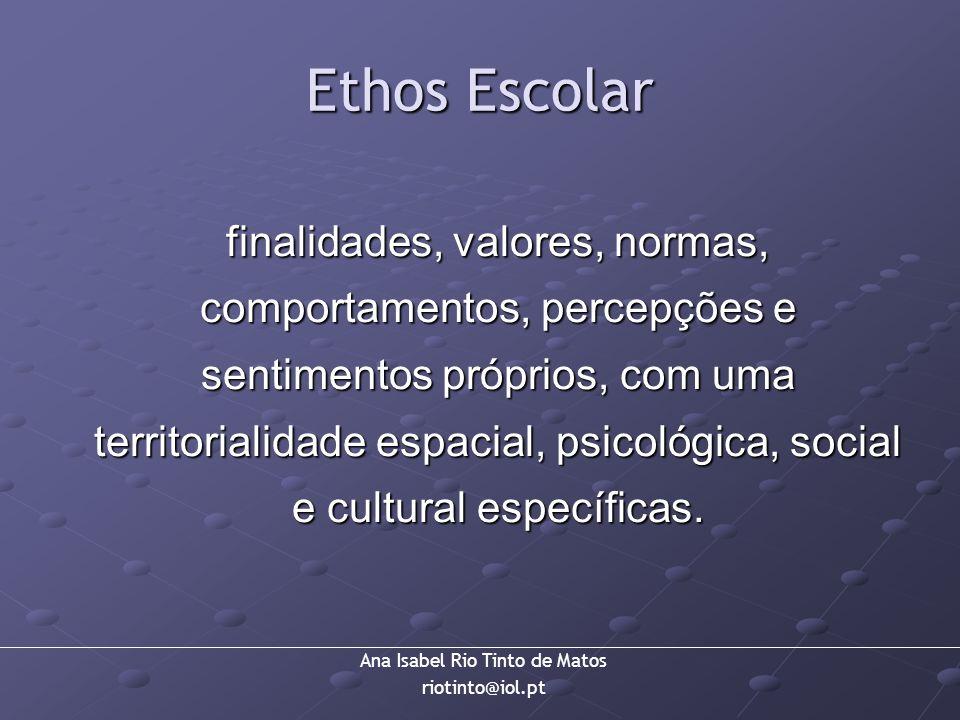 Ana Isabel Rio Tinto de Matos riotinto@iol.pt Ethos Escolar finalidades, valores, normas, comportamentos, percepções e sentimentos próprios, com uma t