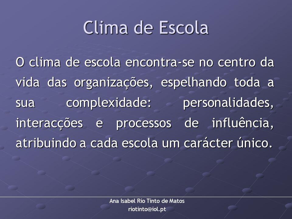 Ana Isabel Rio Tinto de Matos riotinto@iol.pt Clima de Escola O clima de escola encontra-se no centro da vida das organizações, espelhando toda a sua
