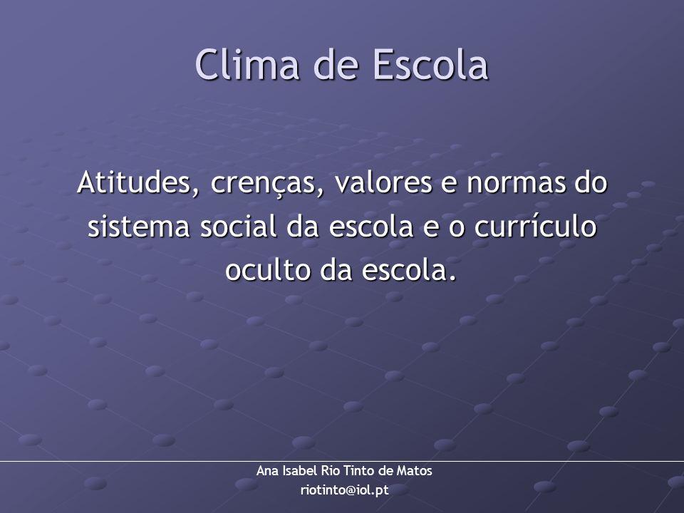 Ana Isabel Rio Tinto de Matos riotinto@iol.pt Clima de Escola Atitudes, crenças, valores e normas do sistema social da escola e o currículo oculto da
