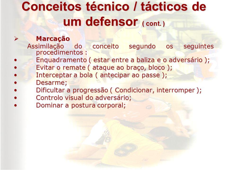 Conceitos técnico / tácticos de um defensor ( cont. ) Marcação Marcação Assimilação do conceito segundo os seguintes procedimentos : Assimilação do co