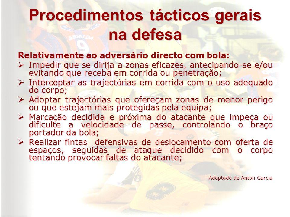 Procedimentos tácticos gerais na defesa Relativamente ao adversário directo com bola: Impedir que se dirija a zonas eficazes, antecipando-se e/ou evit