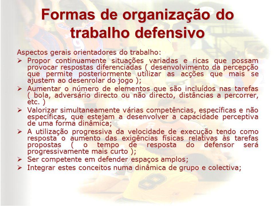 Formas de organização do trabalho defensivo Aspectos gerais orientadores do trabalho: Propor continuamente situações variadas e ricas que possam provo