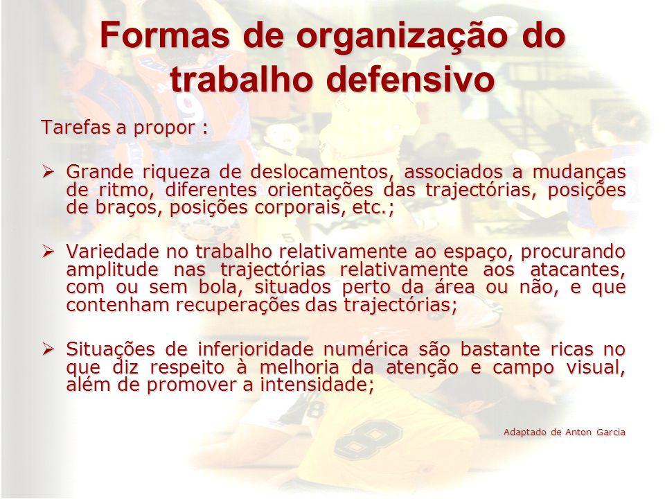 Formas de organização do trabalho defensivo Tarefas a propor : Grande riqueza de deslocamentos, associados a mudanças de ritmo, diferentes orientações