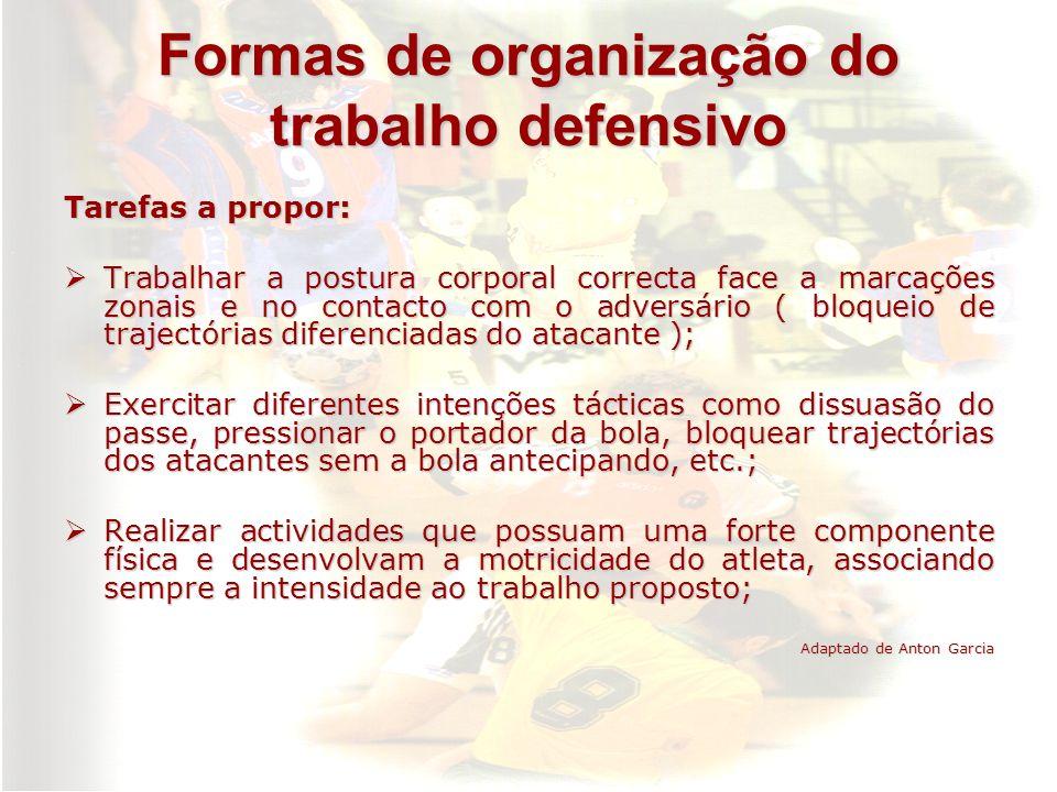 Formas de organização do trabalho defensivo Tarefas a propor: Trabalhar a postura corporal correcta face a marcações zonais e no contacto com o advers