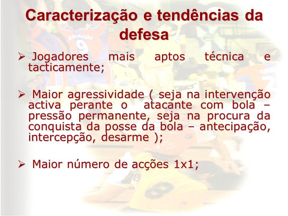 Caracterização e tendências da defesa Jogadores mais aptos técnica e tacticamente; Jogadores mais aptos técnica e tacticamente; Maior agressividade (