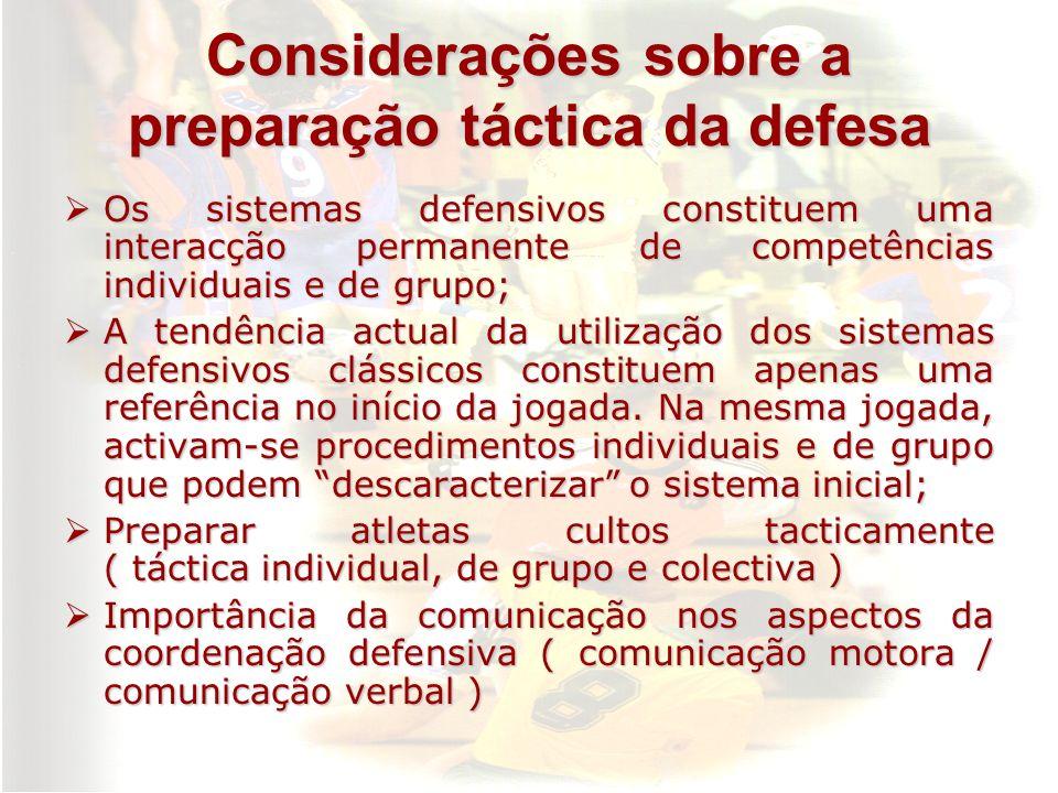 Considerações sobre a preparação táctica da defesa Os sistemas defensivos constituem uma interacção permanente de competências individuais e de grupo;