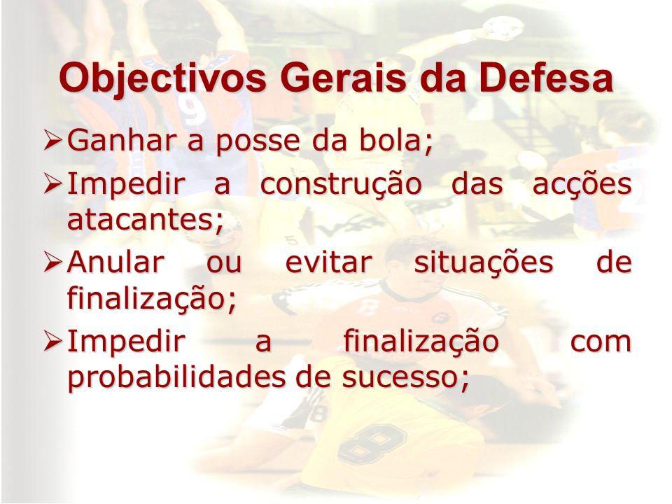 Objectivos Gerais da Defesa Ganhar a posse da bola; Ganhar a posse da bola; Impedir a construção das acções atacantes; Impedir a construção das acções