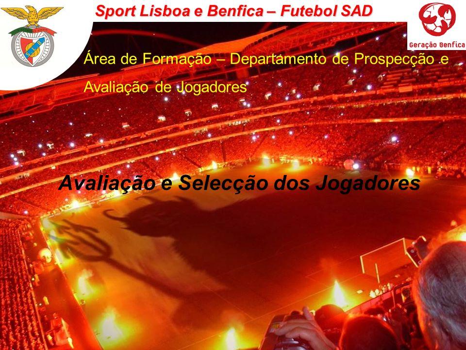 Sport Lisboa e Benfica – Futebol SAD Área de Formação – Departamento de Prospecção e Avaliação de Jogadores ETAPAS INICIAÇÃOESPECIALIZAÇÃO CRITÉRIOS DE AVALIAÇÃO DISTINTOS POTENCIAL / MARGEM PROGRESSÃO – POTENCIAL / RENDIMENTO … Sub 14Sub 15 … GERAIS – ESPECÍFICOS MENOS FACTORES – MAIS FACTORES