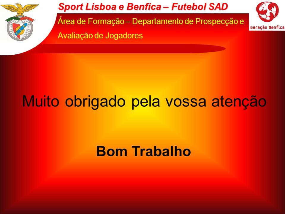 Sport Lisboa e Benfica – Futebol SAD Área de Formação – Departamento de Prospecção e Avaliação de Jogadores Muito obrigado pela vossa atenção Bom Trab