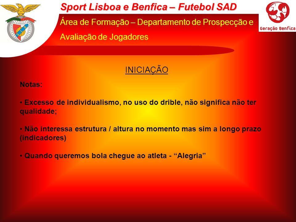 Sport Lisboa e Benfica – Futebol SAD Área de Formação – Departamento de Prospecção e Avaliação de Jogadores INICIAÇÃO Notas: Excesso de individualismo