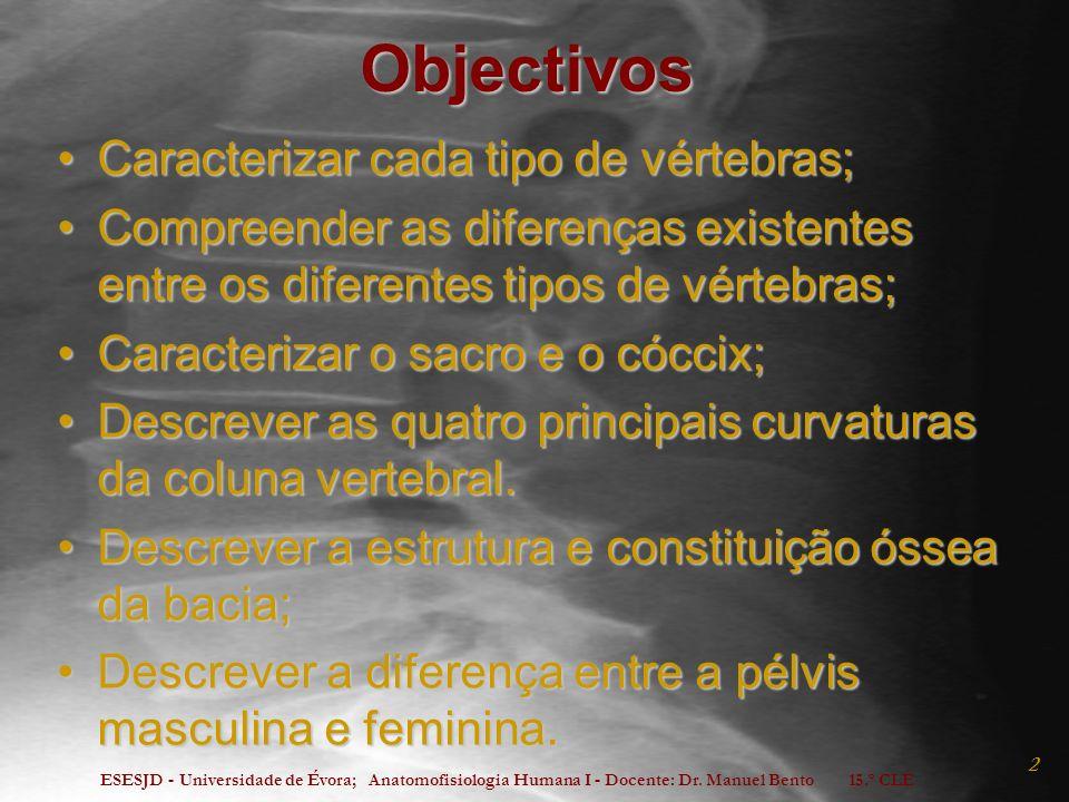 ESESJD - Universidade de Évora; Anatomofisiologia Humana I - Docente: Dr. Manuel Bento 15.º CLE 2 Objectivos Caracterizar cada tipo de vértebras;Carac