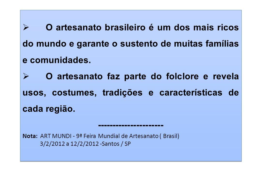 O artesanato brasileiro é um dos mais ricos do mundo e garante o sustento de muitas famílias e comunidades. O artesanato faz parte do folclore e revel