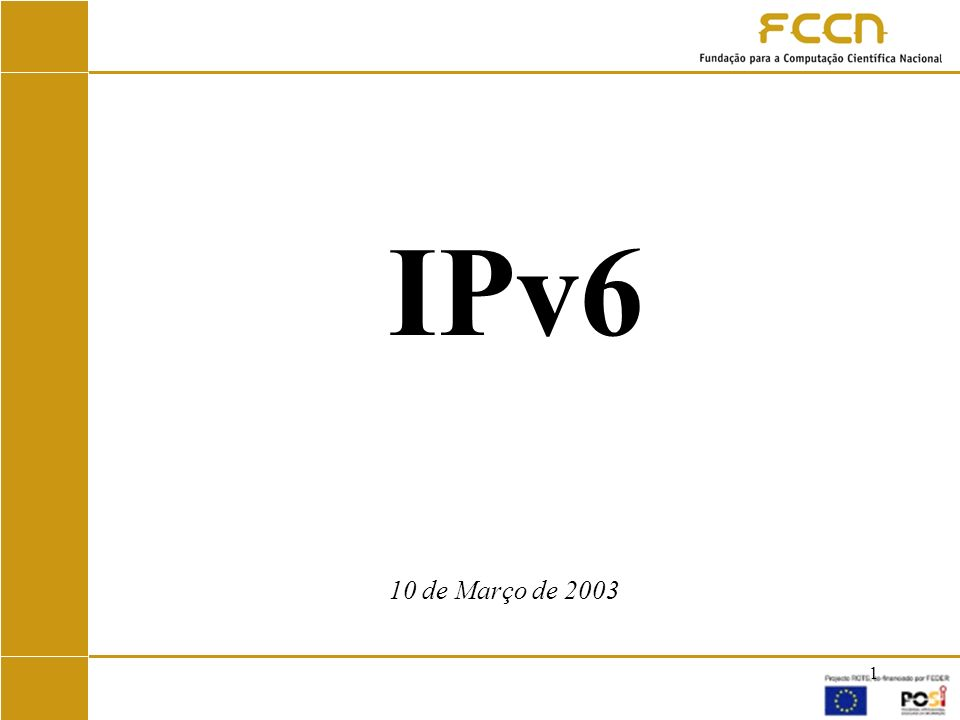 12 IPv6 em Portugal Novembro 1996 – Pedro Roque produz primeira implementação de IPv6 para LINUX