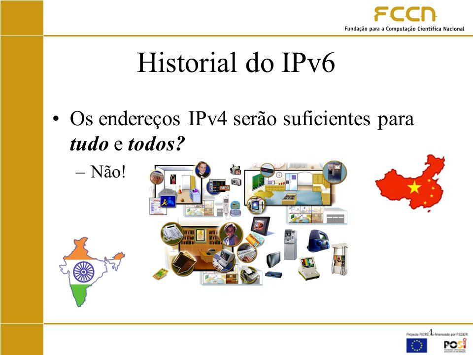 15 IPv6 na RCTS Em 1998 a FCCN, em colaboração com várias Universidades, começa a correr IPv6 sobre túneis IPv4 Testes –Routers, clientes, implementações LINUX/BSD, estudos de desempenho,...