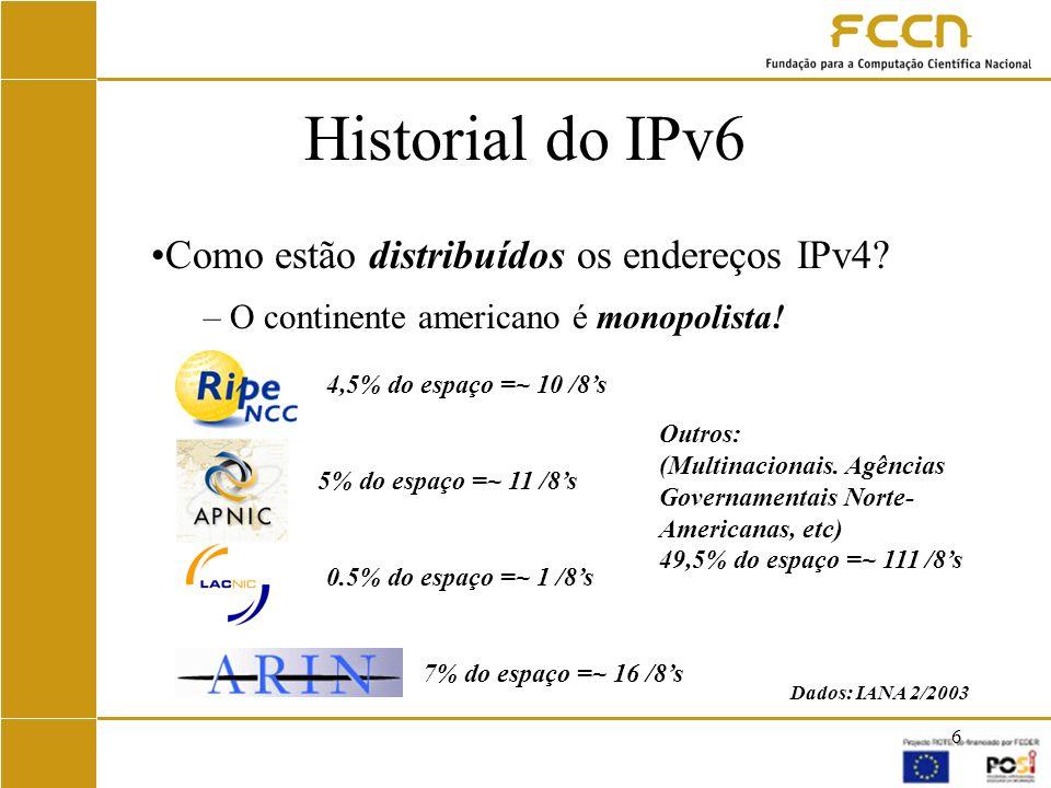 17 IPv6 na RCTS WEB Site sobre IPv6 em: –www.fccn.pt/projectos/IPv6 (IPv4) Informação técnica –www.ip6.fccn.pt (IPv4 e IPv6) Evolução do projecto dia-a-dia Estatísticas Maio/2002 –Workshop em colaboração com a CISCO Apresentado plano de endereçamento de IPv6 da RCTS