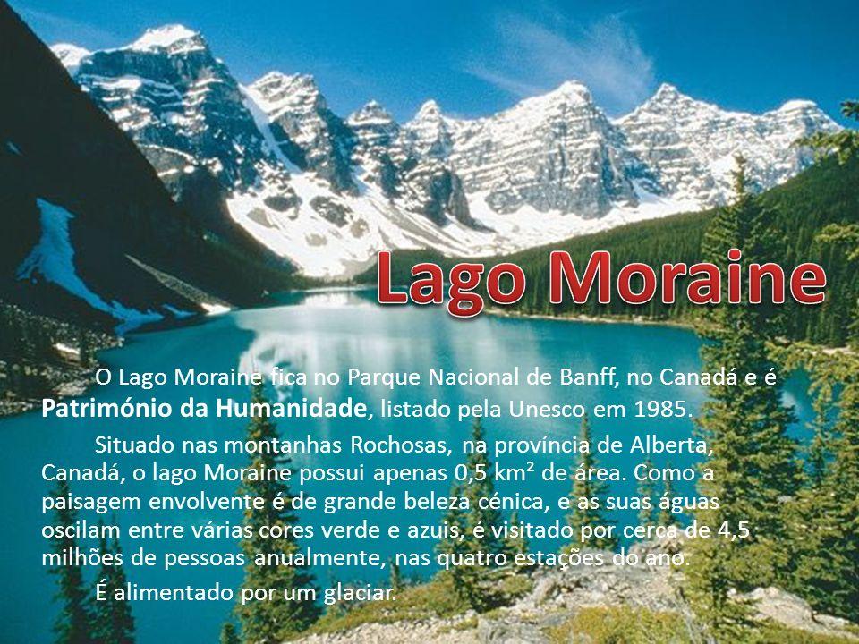 O Lago Moraine fica no Parque Nacional de Banff, no Canadá e é Património da Humanidade, listado pela Unesco em 1985. Situado nas montanhas Rochosas,