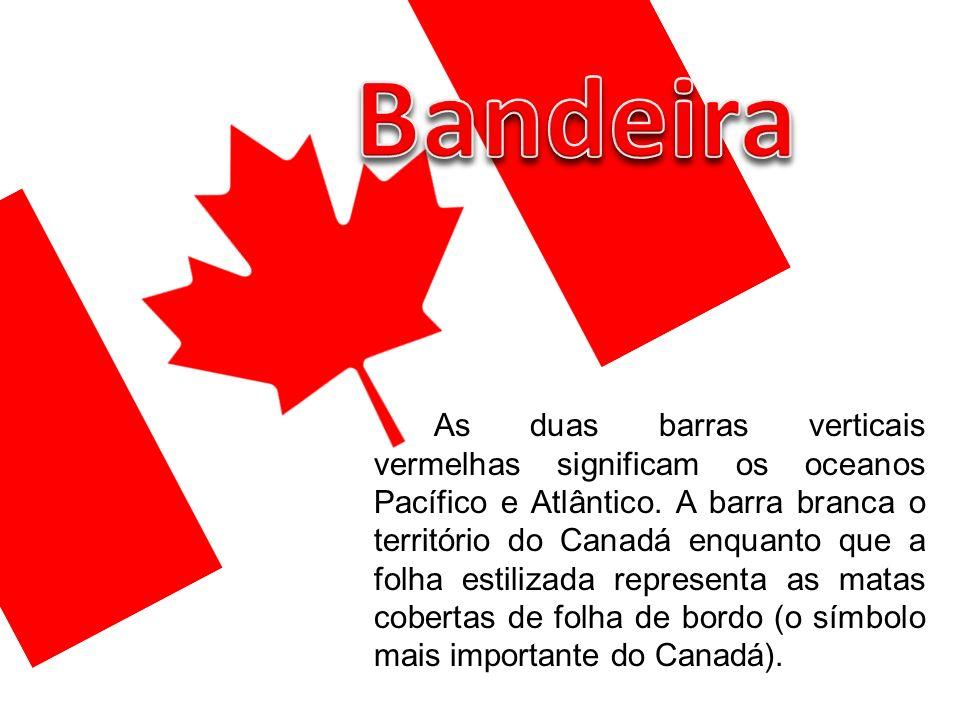 As duas barras verticais vermelhas significam os oceanos Pacífico e Atlântico. A barra branca o território do Canadá enquanto que a folha estilizada r