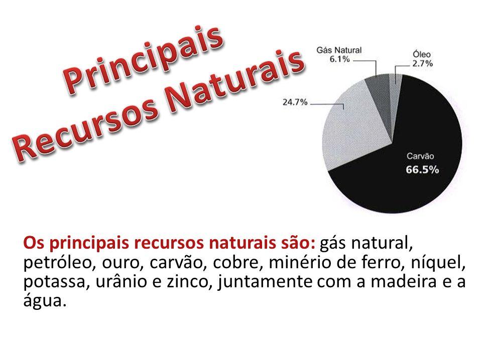 Os principais recursos naturais são: gás natural, petróleo, ouro, carvão, cobre, minério de ferro, níquel, potassa, urânio e zinco, juntamente com a m