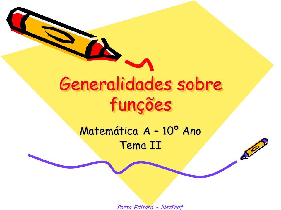 Porto Editora - NetProf Estudo de uma função: Monotonia e extremos Função crescente –em sentido lato x 1,x 2 D f : x 1 x 2 f(x 1 ) f(x 2 ) –em sentido estrito x 1,x 2 D f : x 1 >x 2 f(x 1 )>f(x 2 ) Função decrescente –em sentido lato x 1,x 2 D f : x 1 x 2 f(x 1 ) f(x 2 ) –em sentido estrito x 1,x 2 D f : x 1 >x 2 f(x 1 )<f(x 2 ) Máximo Absoluto - max – x D f,f(x) max Mínimo Absoluto - min – x D f,f(x) min Máximo Relativo - maxr – I Df x I,f(x) maxr Mínimo Relativo - minr – I Df x I,f(x) minr