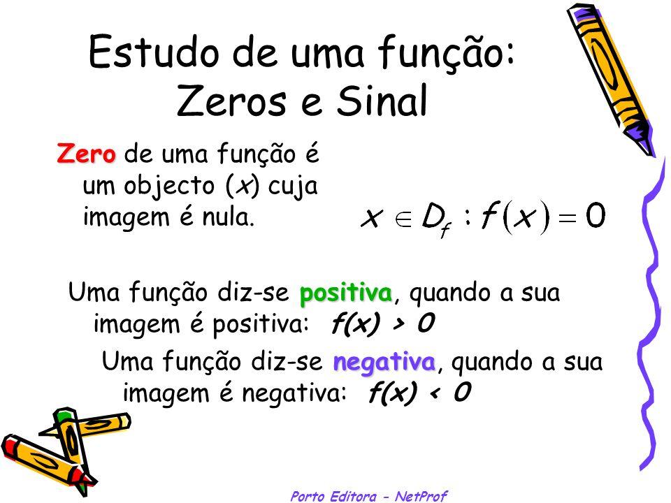 Estudo de uma função: Zeros e Sinal Zero Zero de uma função é um objecto (x) cuja imagem é nula. Uma função diz-se positiva positiva, quando a sua ima