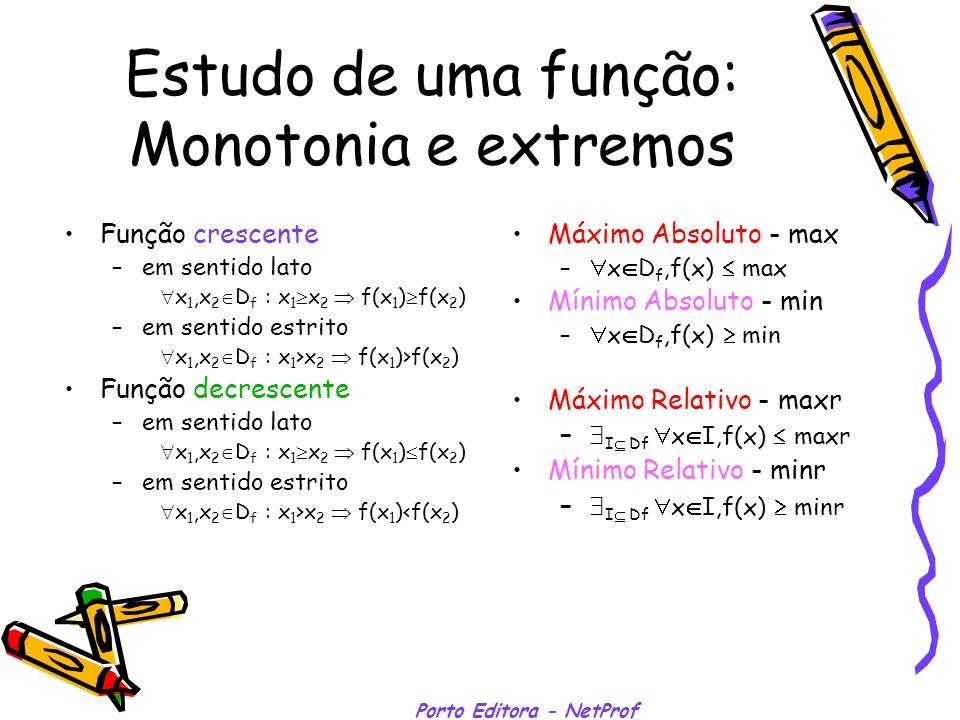 Porto Editora - NetProf Estudo de uma função: Monotonia e extremos Função crescente –em sentido lato x 1,x 2 D f : x 1 x 2 f(x 1 ) f(x 2 ) –em sentido