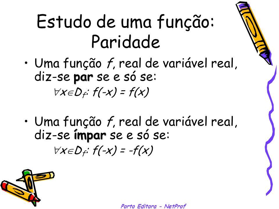 Porto Editora - NetProf Estudo de uma função: Paridade Uma função f, real de variável real, diz-se par par se e só se: x D f : f(-x) = f(x) Uma função