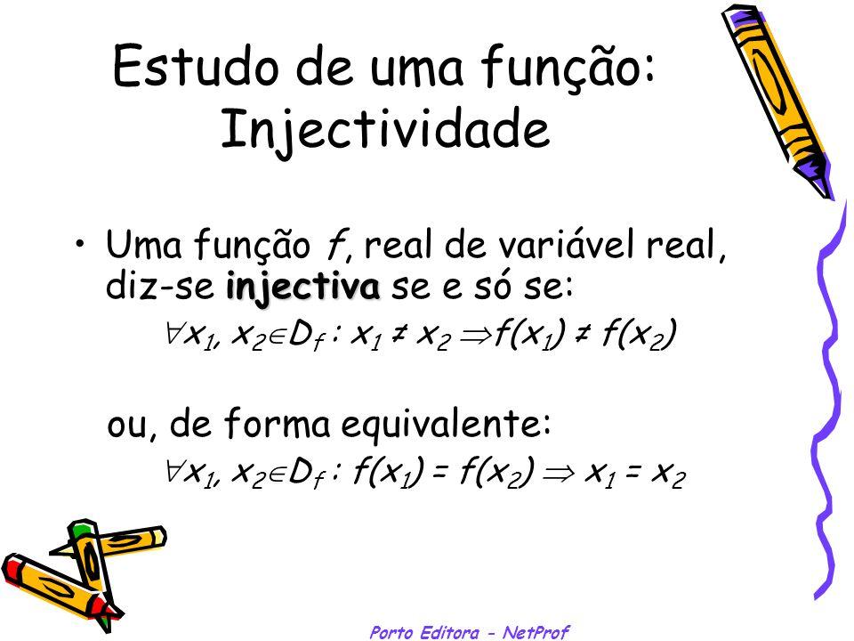 Porto Editora - NetProf Estudo de uma função: Injectividade Uma função f, real de variável real, diz-se injectiva injectiva se e só se: x 1, x 2 D f :