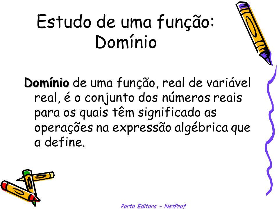 Porto Editora - NetProf Estudo de uma função: Domínio Domínio Domínio de uma função, real de variável real, é o conjunto dos números reais para os qua