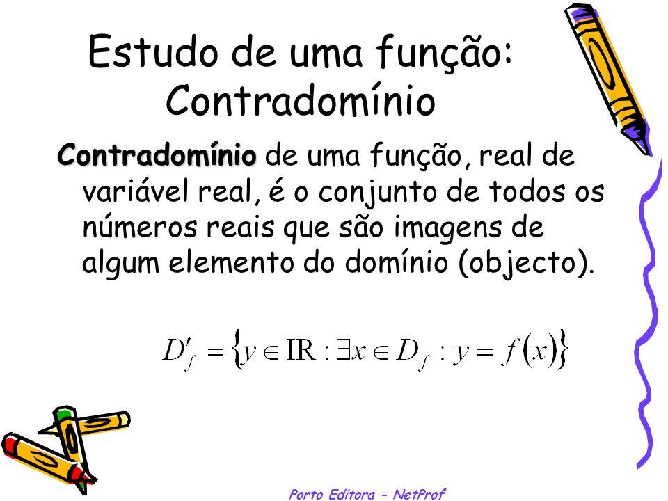 Estudo de uma função: Contradomínio Contradomínio Contradomínio de uma função, real de variável real, é o conjunto de todos os números reais que são i