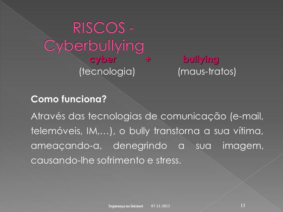 cyber + bullying cyber + bullying (tecnologia) (maus-tratos) Como funciona? Através das tecnologias de comunicação (e-mail, telemóveis, IM,…), o bully